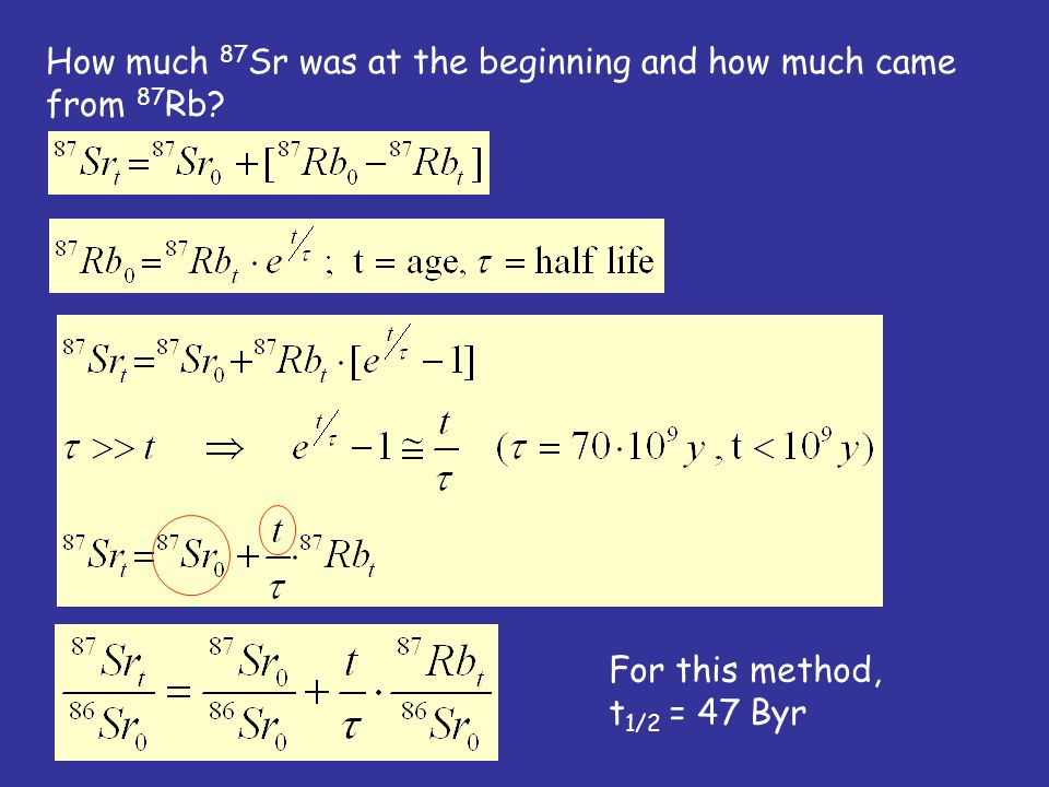 How much 87 Sr was at the beginning and how much came from 87 Rb For this method, t 1/2 = 47 Byr