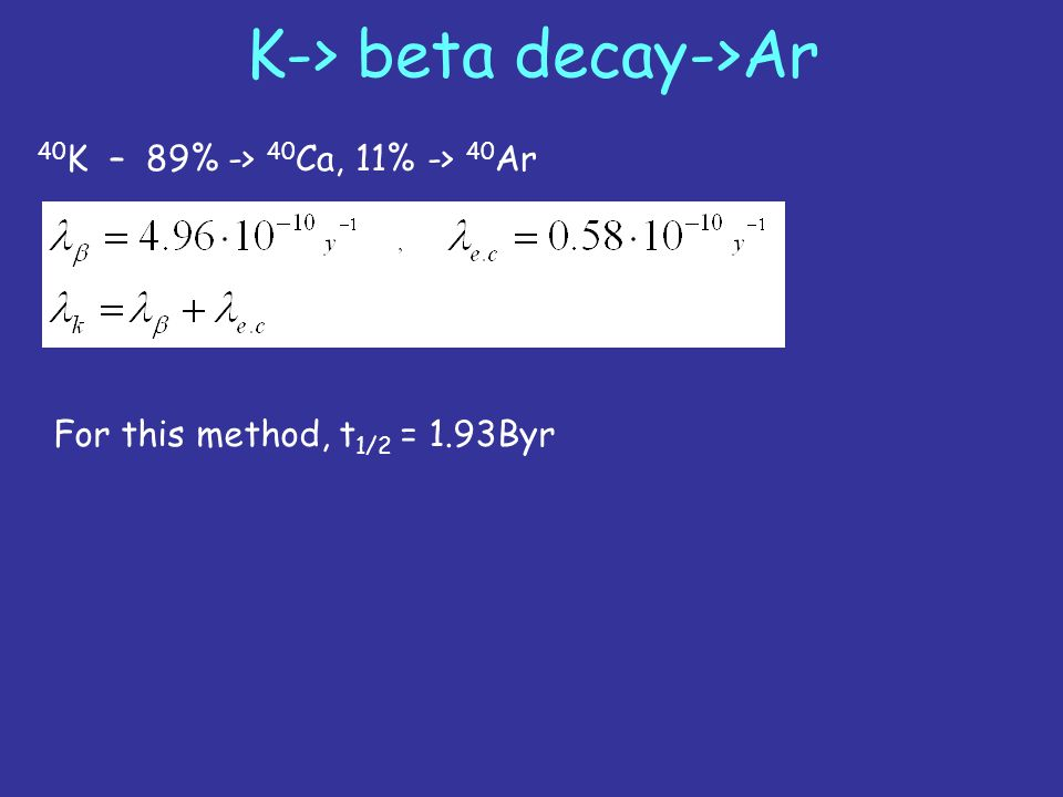K-> beta decay->Ar 40 K – 89% -> 40 Ca, 11% -> 40 Ar For this method, t 1/2 = 1.93Byr