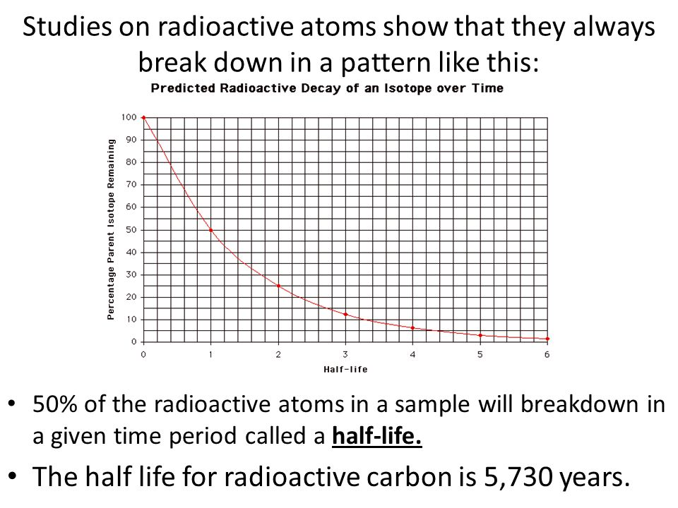 TRY THIS: How many half lives has an object gone through if 25% of its carbon is still radioactive.