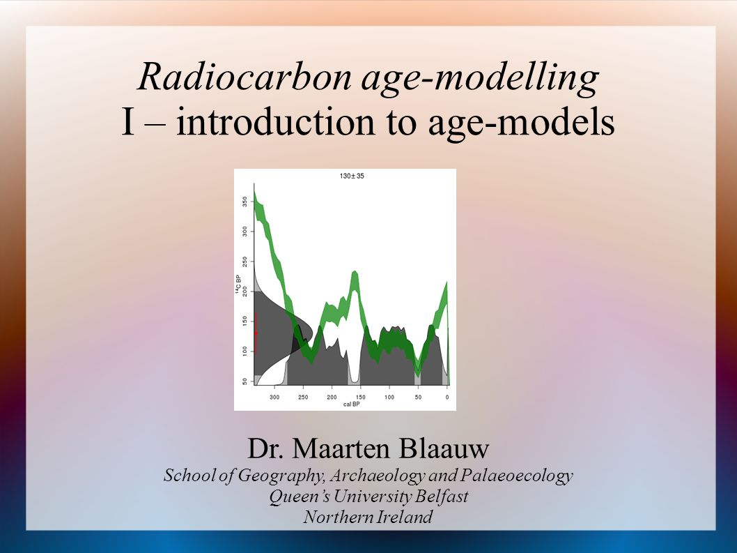 Age-depth modelling 14 C and other dates Basic age-modelling techniques interpolation, regression, spline,...