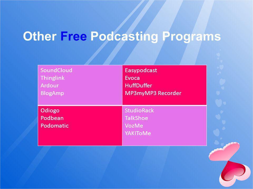 Other Free Podcasting Programs SoundCloud Thinglink Ardour BlogAmp Easypodcast Evoca HuffDuffer MP3myMP3 Recorder Odiogo Podbean Podomatic StudioRack