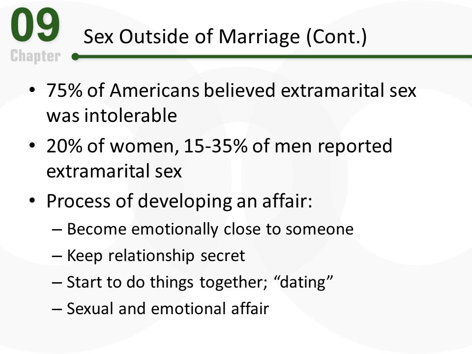 Sex Outside of Marriage (Cont.) 75% of Americans believed extramarital sex was intolerable 20% of women, 15-35% of men reported extramarital sex Proce