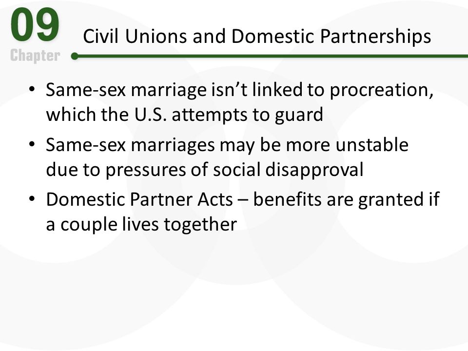Civil Unions and Domestic Partnerships Same-sex marriage isnt linked to procreation, which the U.S. attempts to guard Same-sex marriages may be more u