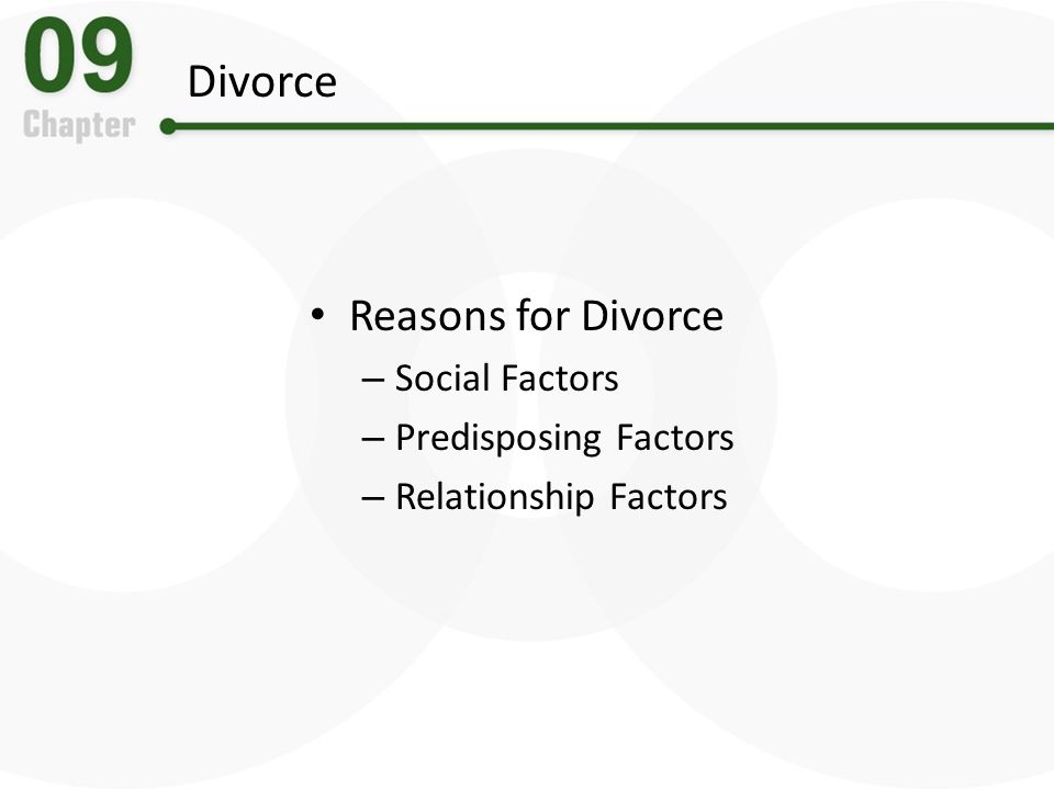 Divorce Reasons for Divorce – Social Factors – Predisposing Factors – Relationship Factors