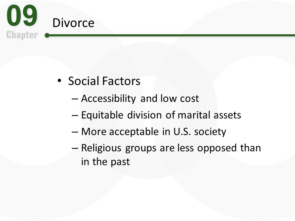 Divorce Social Factors – Accessibility and low cost – Equitable division of marital assets – More acceptable in U.S. society – Religious groups are le