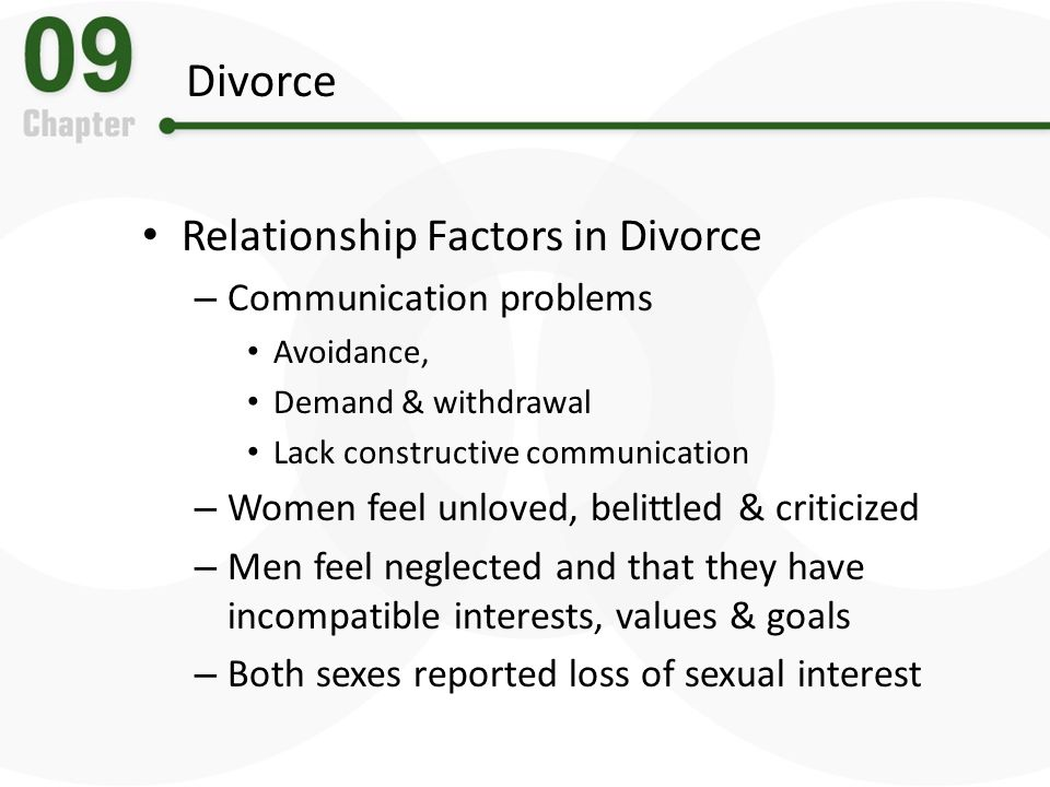 Divorce Relationship Factors in Divorce – Communication problems Avoidance, Demand & withdrawal Lack constructive communication – Women feel unloved,