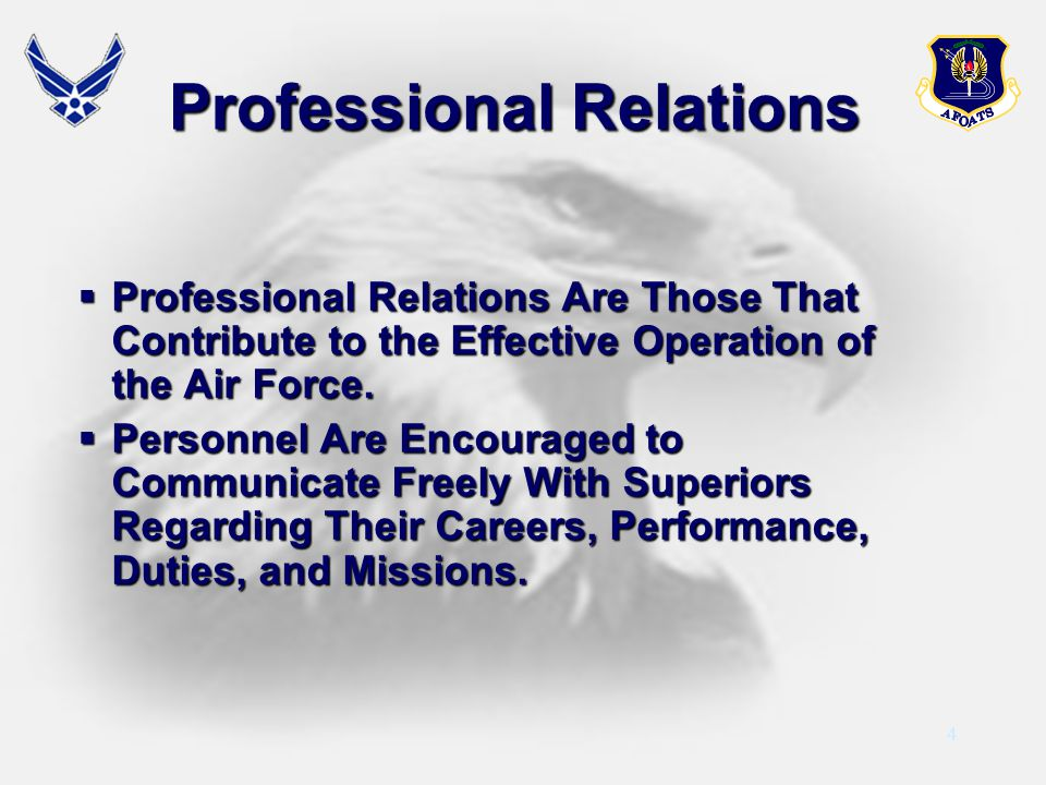 4 Professional Relations Professional Relations Are Those That Contribute to the Effective Operation of the Air Force. Professional Relations Are Thos