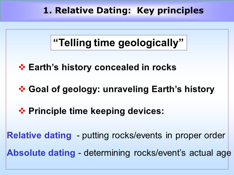 Telling time geologically v Earths history concealed in rocks v Goal of geology: unraveling Earths history v Principle time keeping devices: Relative dating - putting rocks/events in proper order Absolute dating - determining rocks/events actual age 1.
