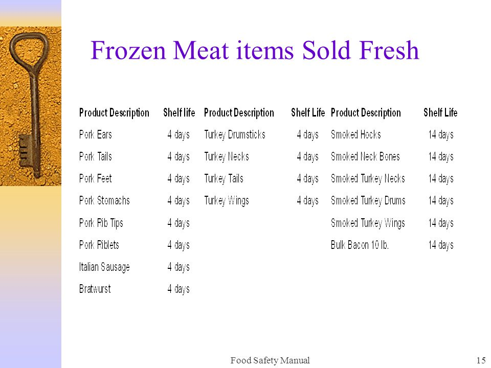 Food Safety Manual14 HANDLING OF FROZEN MEAT PRODUCT As a general rule, any meat product received from the warehouse frozen, should remain frozen. Thi