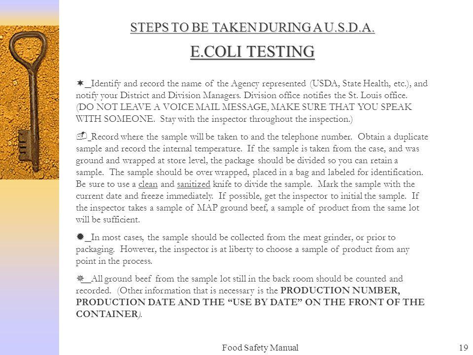 Food Safety Manual18 E. COLI TESTING PROCEDURES