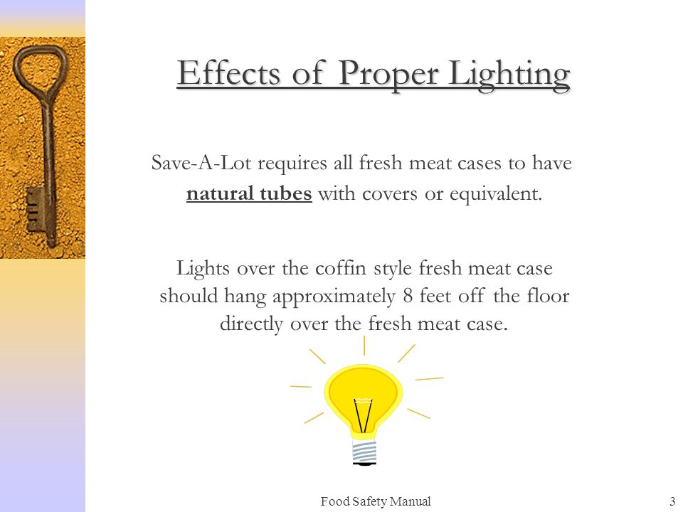 Food Safety Manual3 Effects of Proper Lighting Save-A-Lot requires all fresh meat cases to have natural tubes with covers or equivalent.