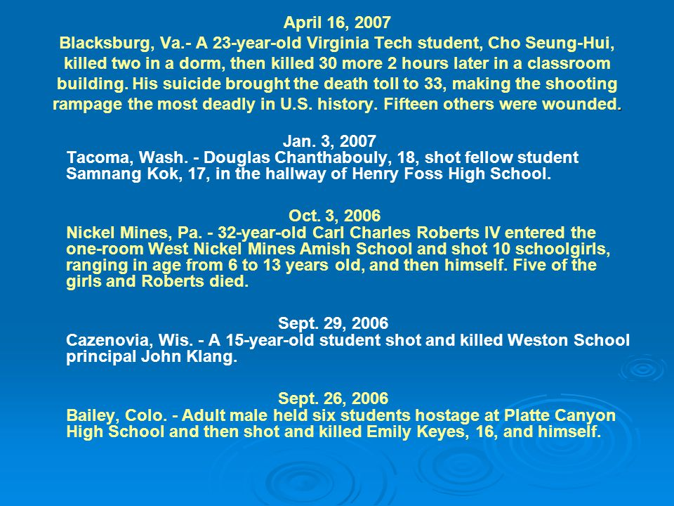 . April 16, 2007 Blacksburg, Va.- A 23-year-old Virginia Tech student, Cho Seung-Hui, killed two in a dorm, then killed 30 more 2 hours later in a cla