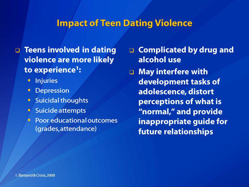 Impact of Teen Dating Violence Teens involved in dating violence are more likely to experience 1 : Injuries Depression Suicidal thoughts Suicide attempts Poor educational outcomes (grades, attendance) Complicated by drug and alcohol use May interfere with development tasks of adolescence, distort perceptions of what is normal, and provide inappropriate guide for future relationships 1.