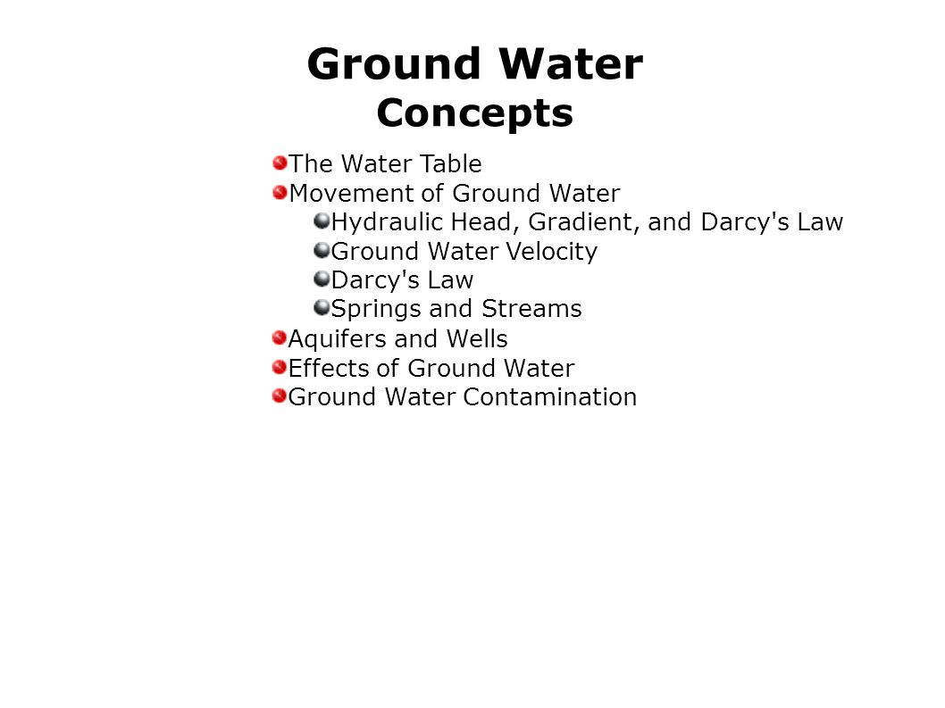Ground Water Concepts The Water Table Movement of Ground Water Hydraulic Head, Gradient, and Darcy's Law Ground Water Velocity Darcy's Law Springs and
