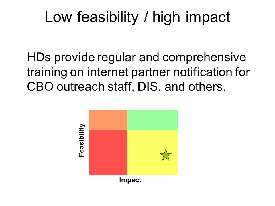 Low feasibility / high impact HDs provide regular and comprehensive training on internet partner notification for CBO outreach staff, DIS, and others.