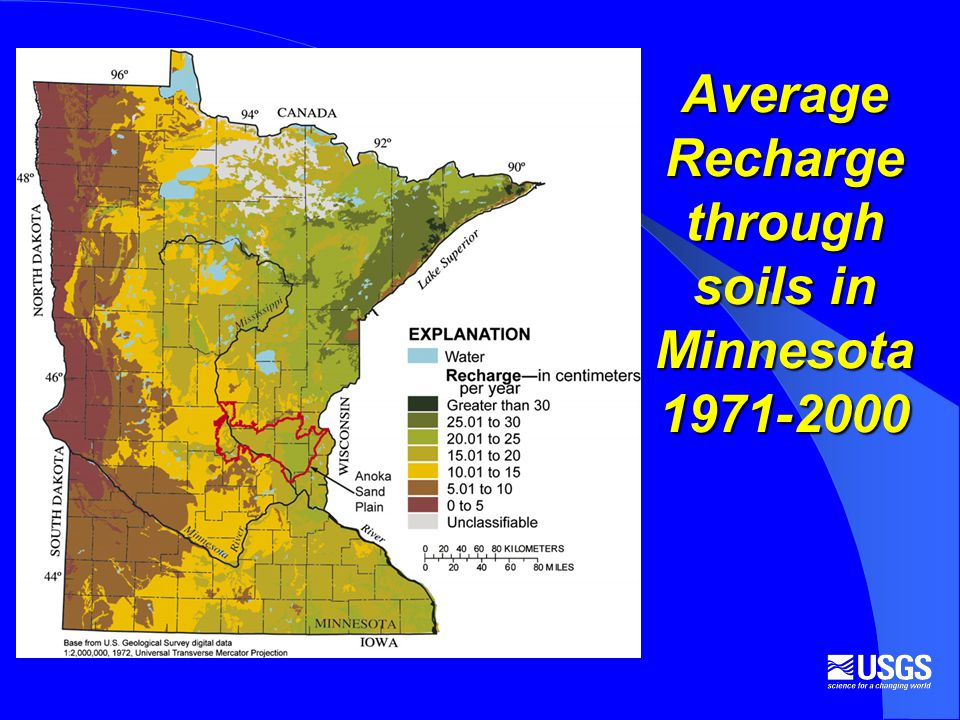 Average Recharge through soils in Minnesota 1971-2000