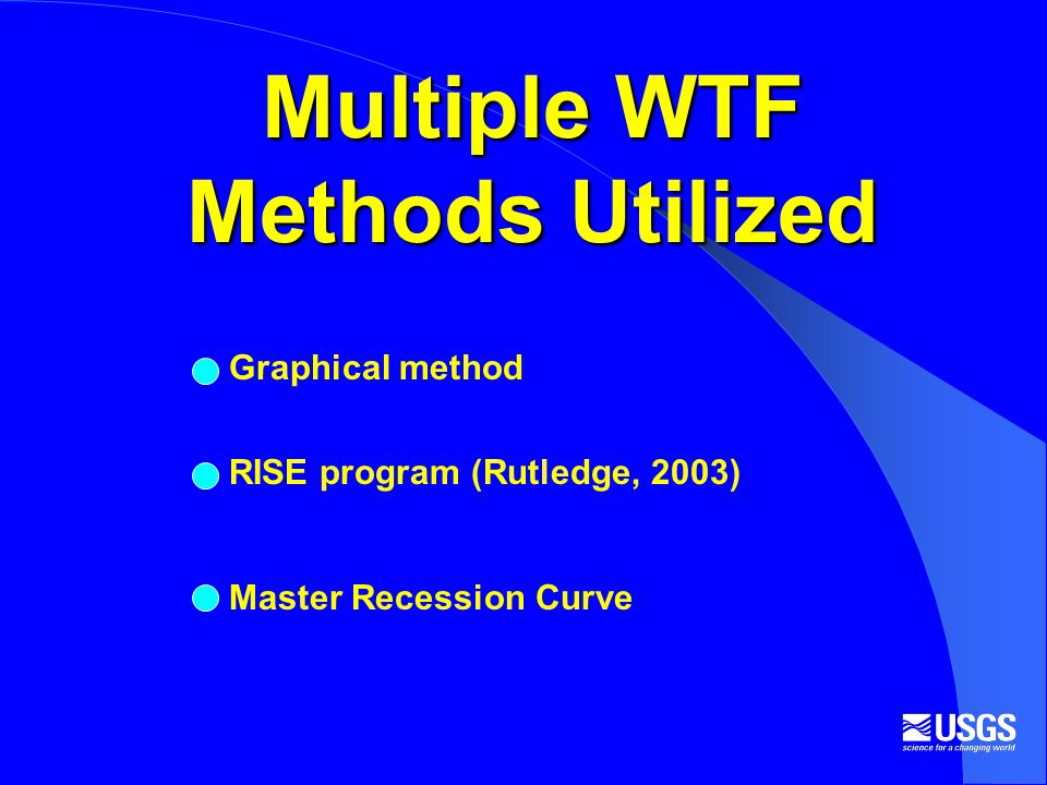 Multiple WTF Methods Utilized Graphical method RISE program (Rutledge, 2003) Master Recession Curve
