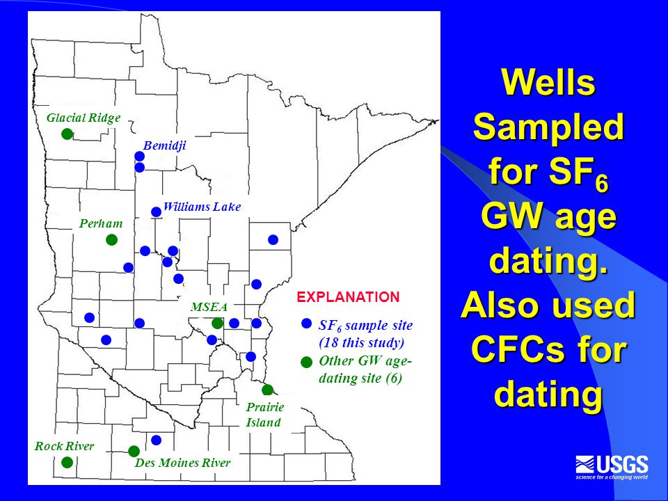 Wells Sampled for SF 6 GW age dating.