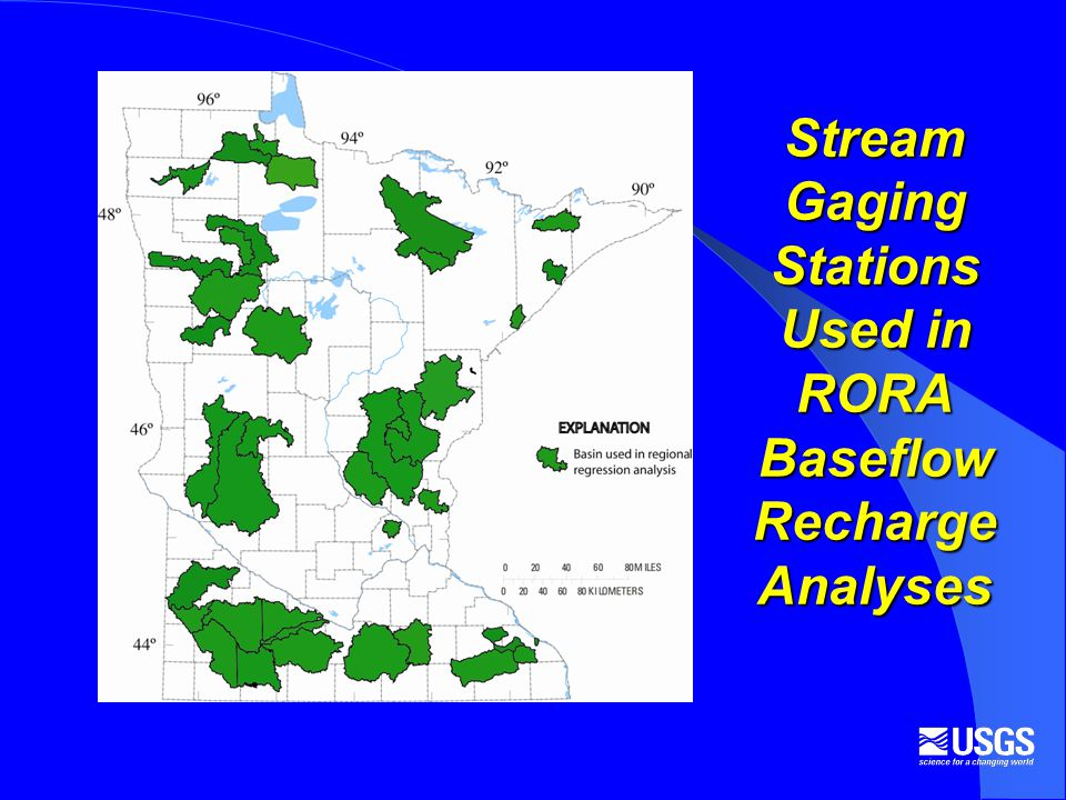 Stream Gaging Stations Used in RORA Baseflow Recharge Analyses