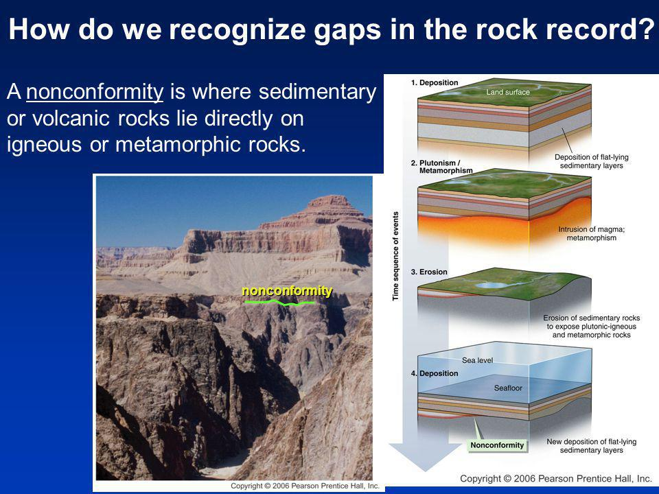 A nonconformity is where sedimentary or volcanic rocks lie directly on igneous or metamorphic rocks.