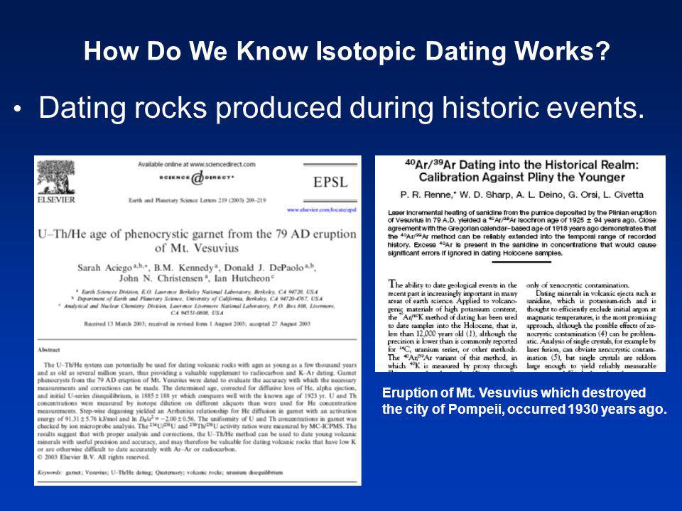 Dating rocks produced during historic events. How Do We Know Isotopic Dating Works.