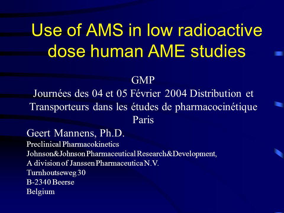 Use of AMS in low radioactive dose human AME studies GMP Journées des 04 et 05 Février 2004 Distribution et Transporteurs dans les études de pharmacocinétique Paris Geert Mannens, Ph.D.