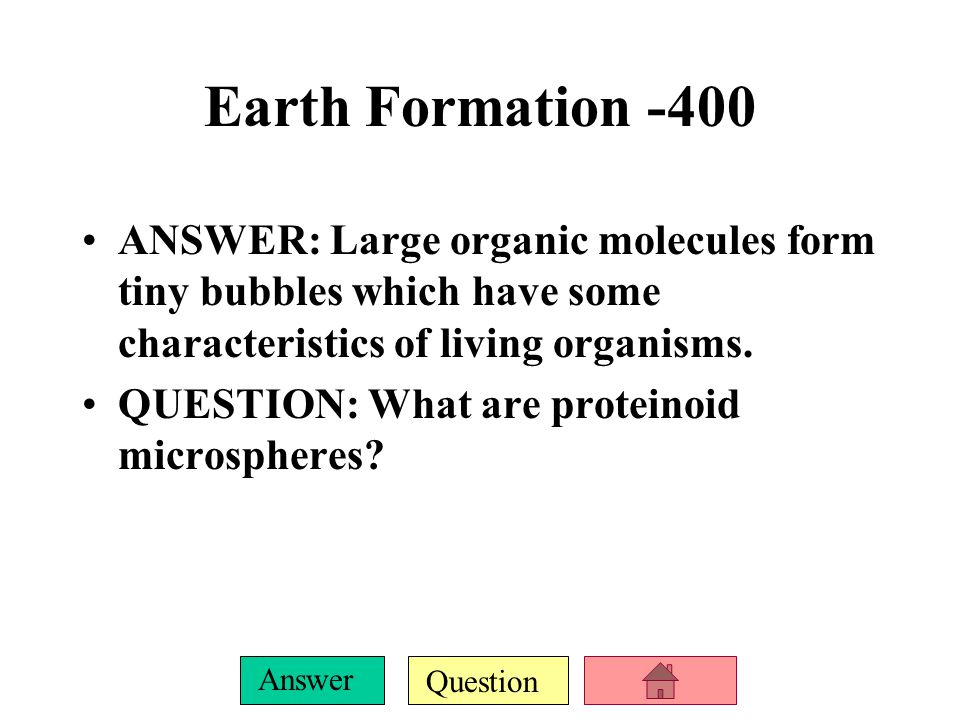Question Answer Earth Formation -300 ANSWER: They performed experiments to determine how organic molecules first formed.