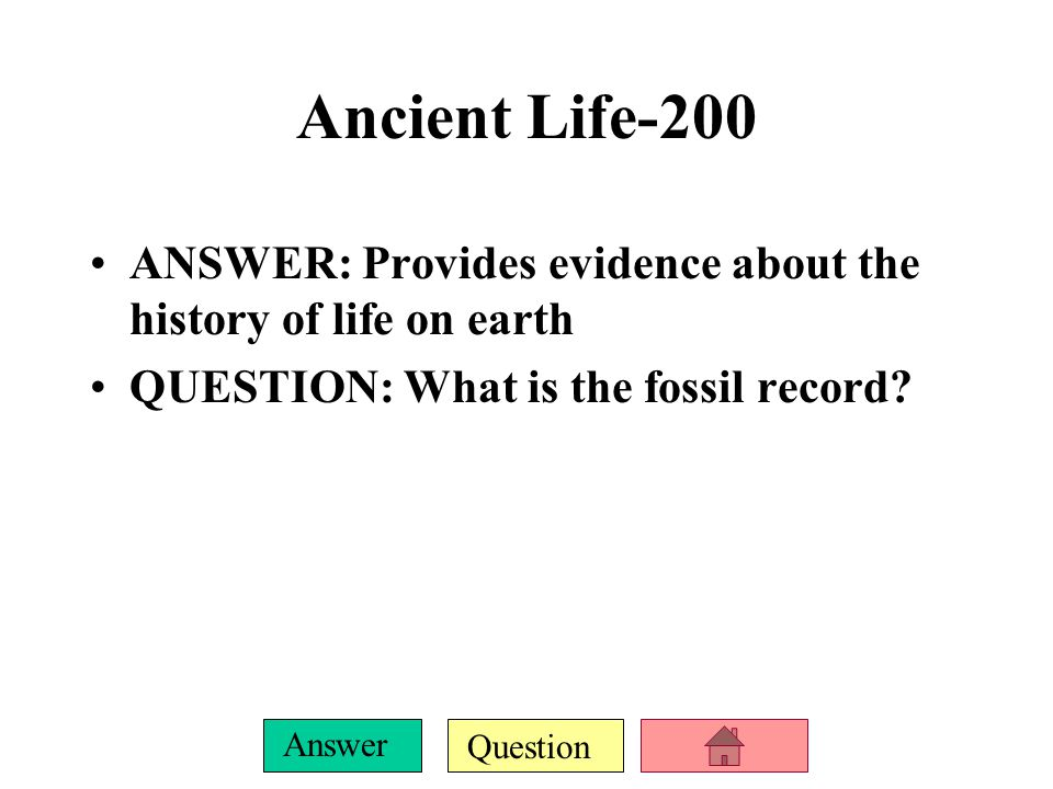 Question Answer Ancient Life-100 ANSWER: Scientists who study fossils.