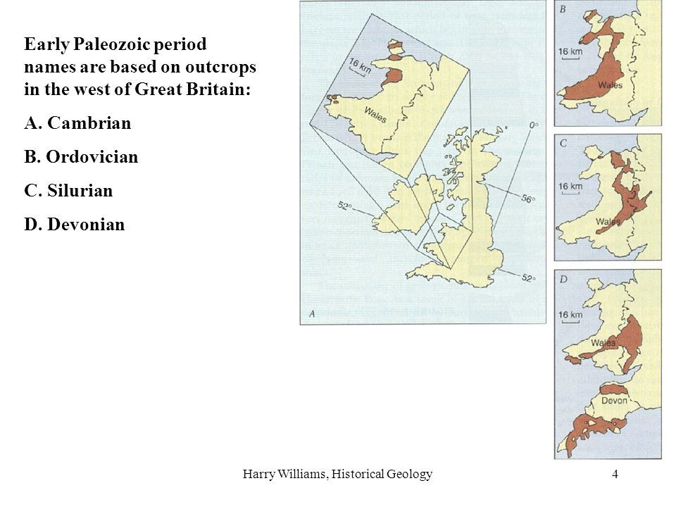 Harry Williams, Historical Geology15 Or, a rock of unknown age can be correlated (e.g.