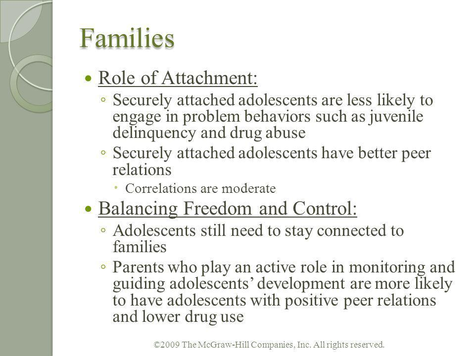 Families Role of Attachment: Securely attached adolescents are less likely to engage in problem behaviors such as juvenile delinquency and drug abuse