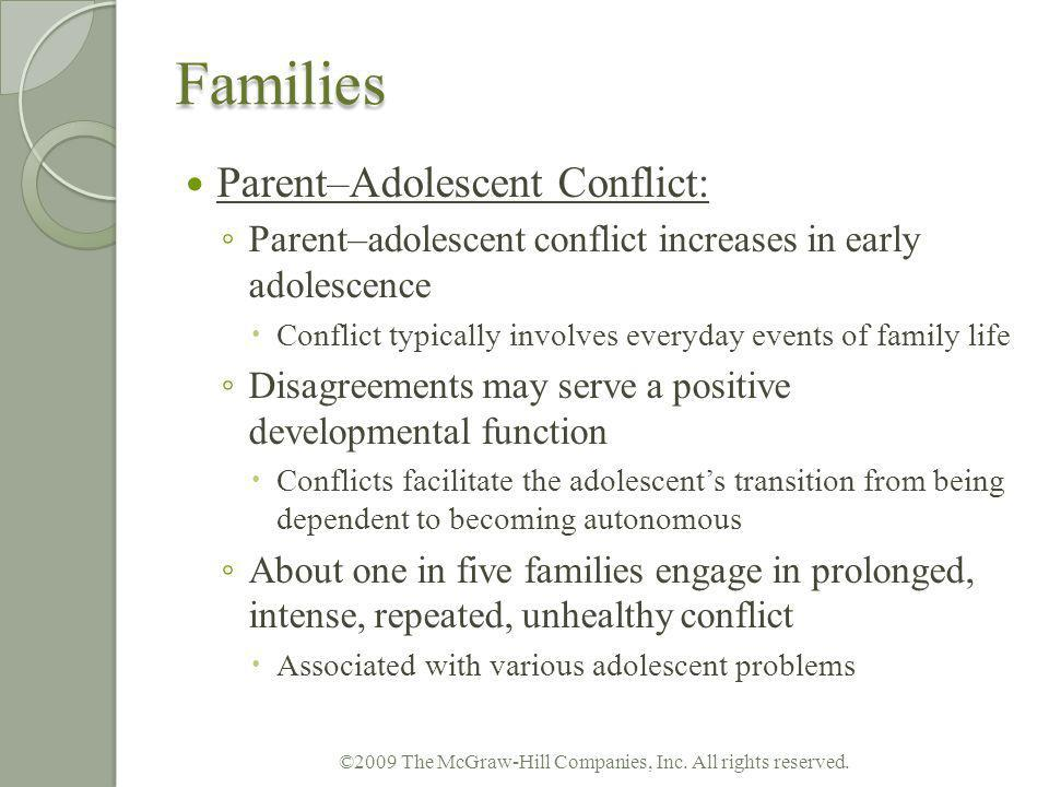 Families Parent–Adolescent Conflict: Parent–adolescent conflict increases in early adolescence Conflict typically involves everyday events of family l