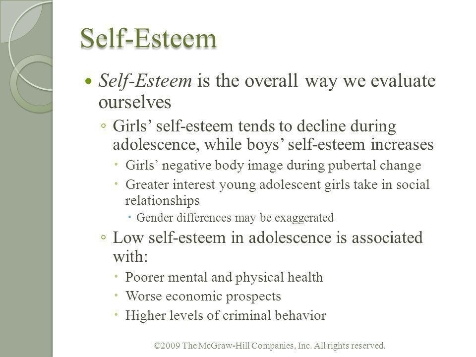 Self-Esteem Self-Esteem is the overall way we evaluate ourselves Girls self-esteem tends to decline during adolescence, while boys self-esteem increas