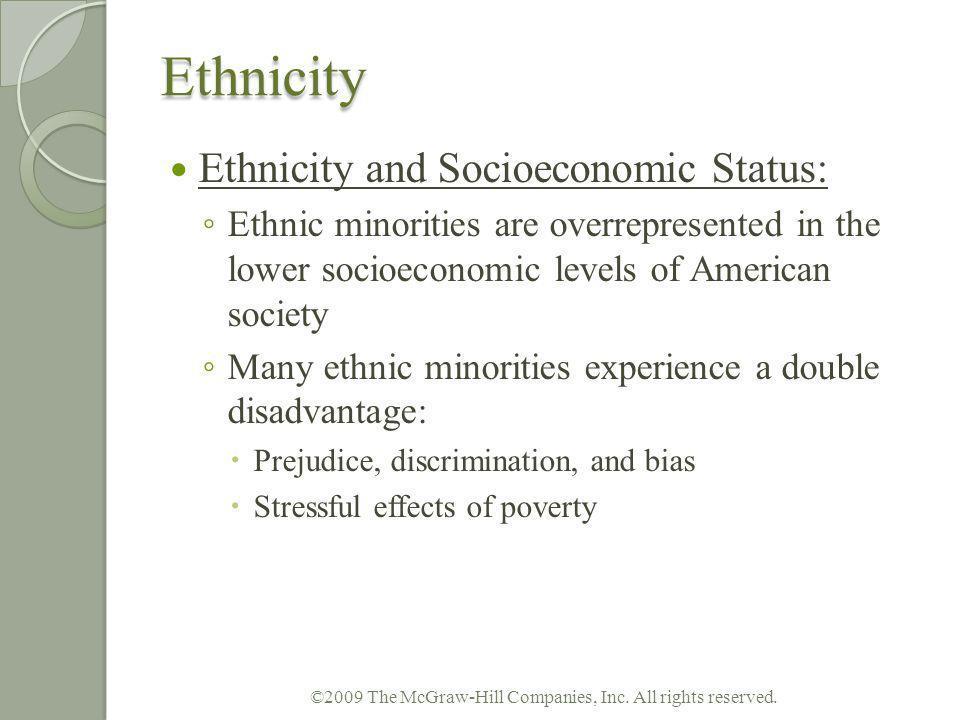 Ethnicity Ethnicity and Socioeconomic Status: Ethnic minorities are overrepresented in the lower socioeconomic levels of American society Many ethnic