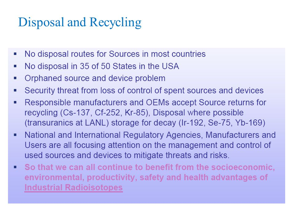 Disposal and Recycling