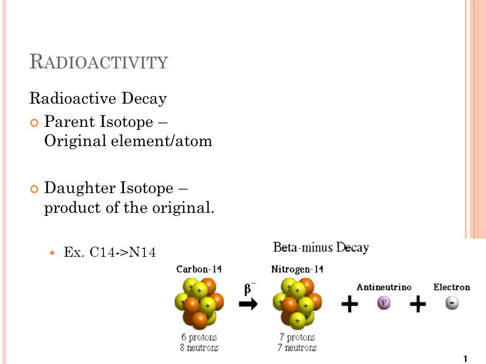 R ADIOACTIVITY Radioactive Decay Parent Isotope – Original element/atom Daughter Isotope – product of the original.