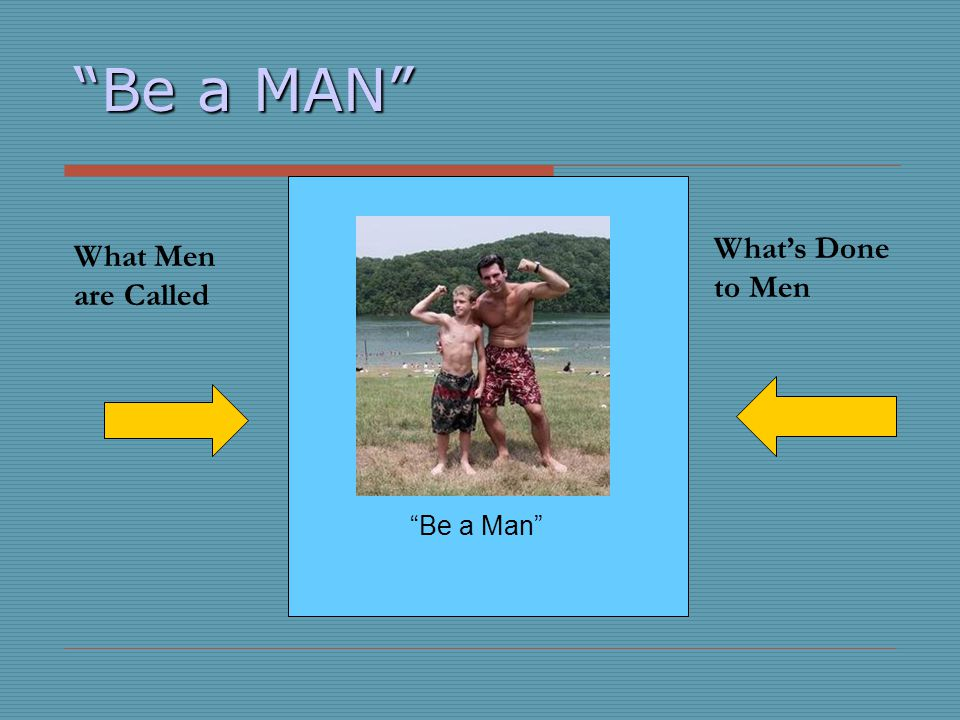 Be a MAN What Men are Called Whats Done to Men Be a Man