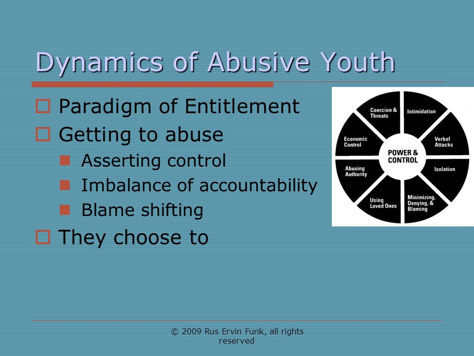 Dynamics of Abusive Youth Paradigm of Entitlement Getting to abuse Asserting control Imbalance of accountability Blame shifting They choose to © 2009