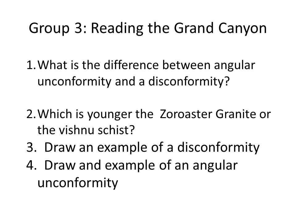 1.What is the difference between angular unconformity and a disconformity? 2.Which is younger the Zoroaster Granite or the vishnu schist? 3. Draw an e