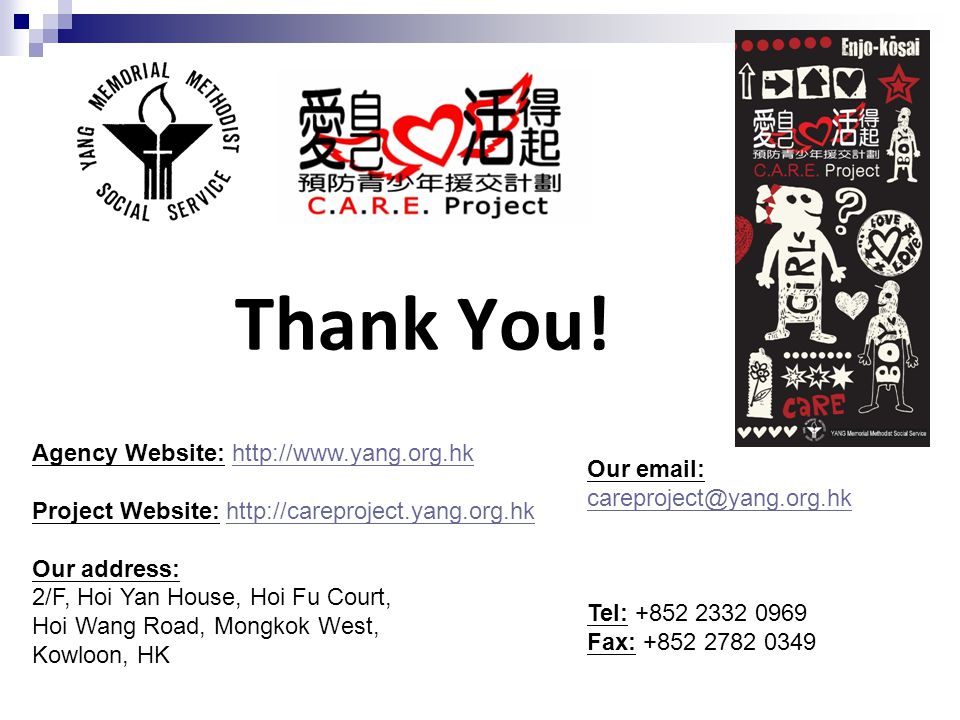 Thank You! Agency Website: http://www.yang.org.hkhttp://www.yang.org.hk Project Website: http://careproject.yang.org.hkhttp://careproject.yang.org.hk