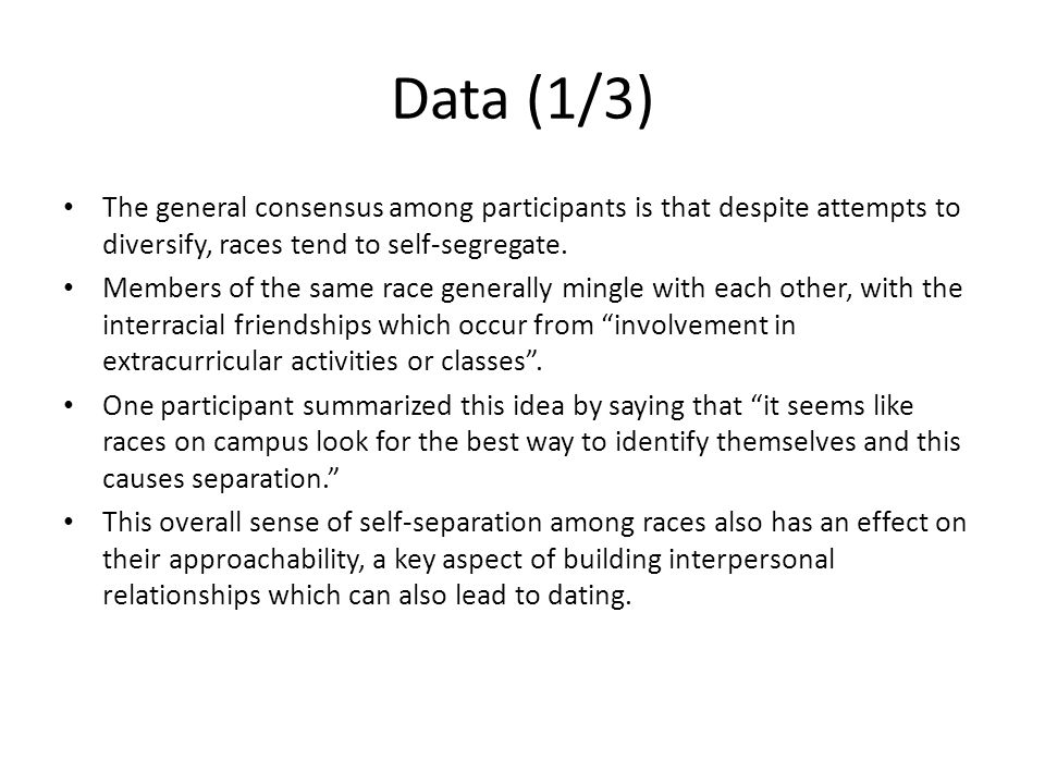 Data (1/3) The general consensus among participants is that despite attempts to diversify, races tend to self-segregate.