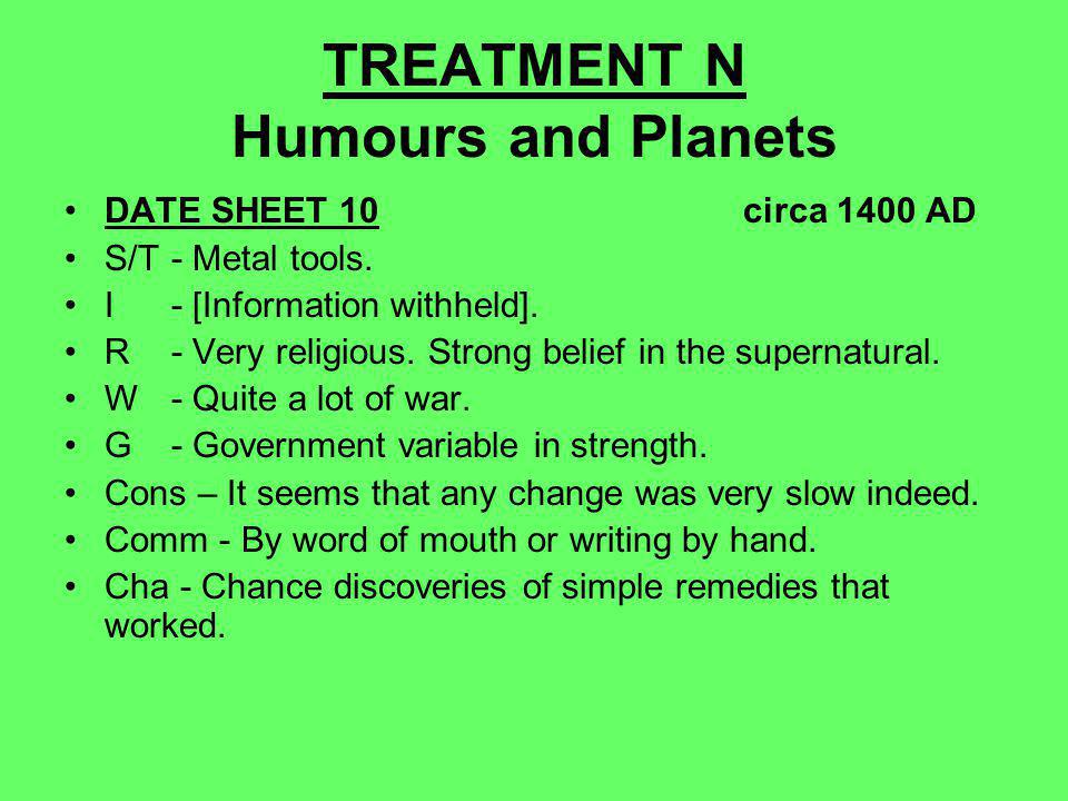 TREATMENT N Humours and Planets DATE SHEET 10 circa 1400 AD S/T- Metal tools.