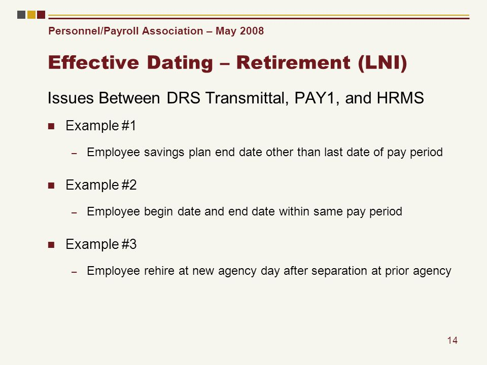 Personnel/Payroll Association – May 2008 14 Effective Dating – Retirement (LNI) Issues Between DRS Transmittal, PAY1, and HRMS Example #1 – Employee savings plan end date other than last date of pay period Example #2 – Employee begin date and end date within same pay period Example #3 – Employee rehire at new agency day after separation at prior agency