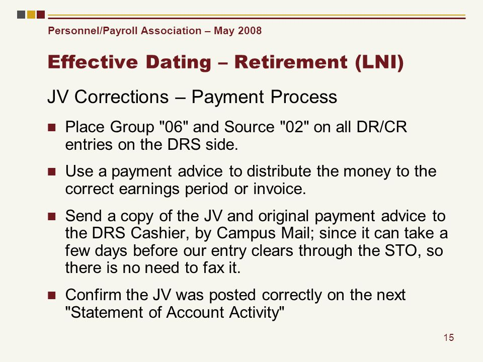 Personnel/Payroll Association – May 2008 15 Effective Dating – Retirement (LNI) JV Corrections – Payment Process Place Group