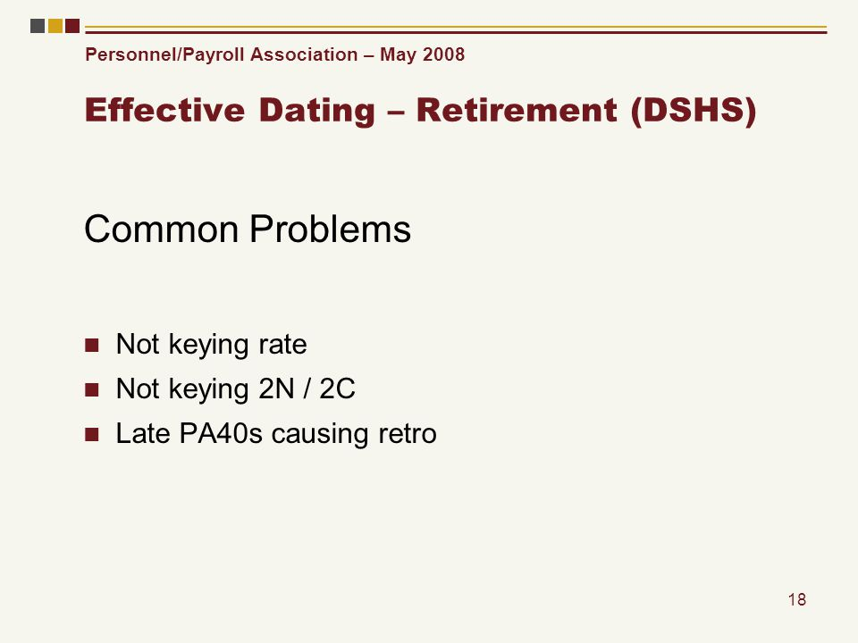 Personnel/Payroll Association – May 2008 18 Effective Dating – Retirement (DSHS) Common Problems Not keying rate Not keying 2N / 2C Late PA40s causing