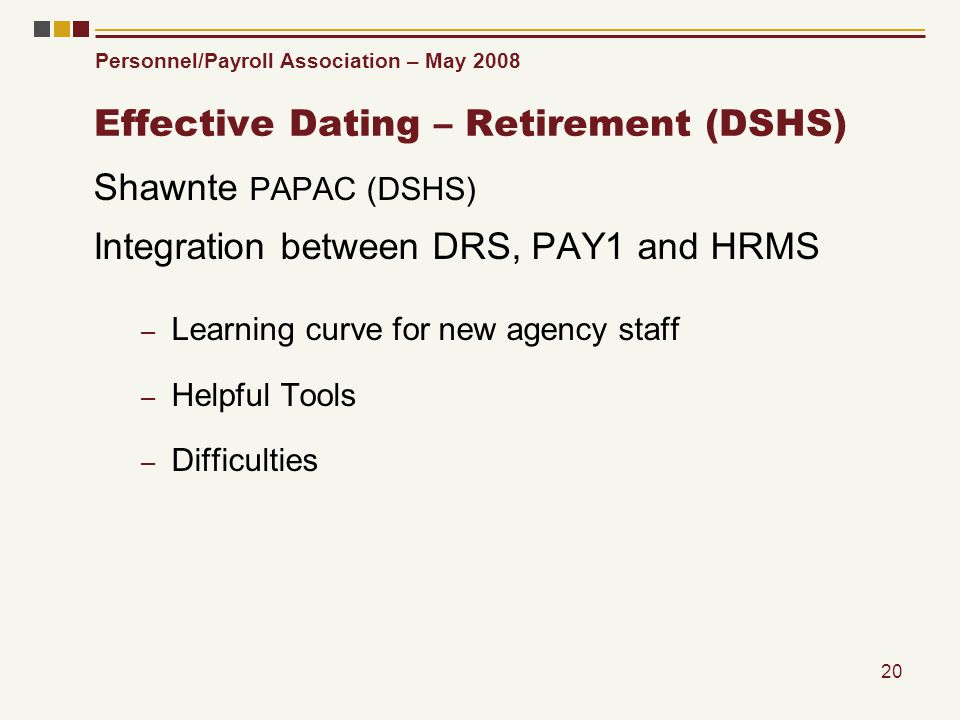 Personnel/Payroll Association – May 2008 20 Effective Dating – Retirement (DSHS) Shawnte PAPAC (DSHS) Integration between DRS, PAY1 and HRMS – Learnin