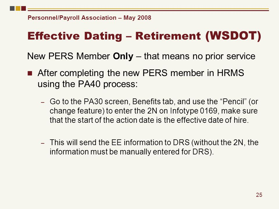 Personnel/Payroll Association – May 2008 25 Effective Dating – Retirement (WSDOT) New PERS Member Only – that means no prior service After completing
