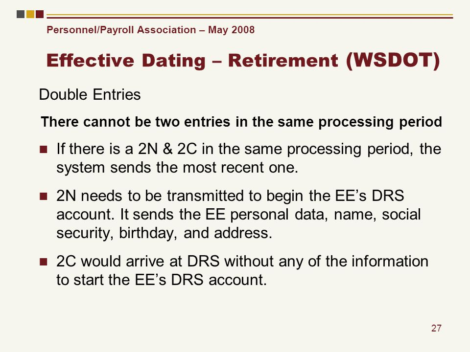 Personnel/Payroll Association – May 2008 27 Effective Dating – Retirement (WSDOT) Double Entries There cannot be two entries in the same processing pe