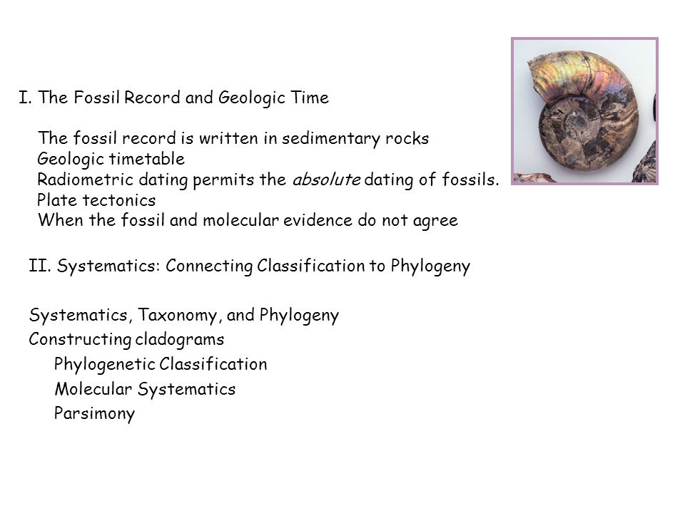 I. The Fossil Record and Geologic Time The fossil record is written in sedimentary rocks Geologic timetable Radiometric dating permits the absolute da