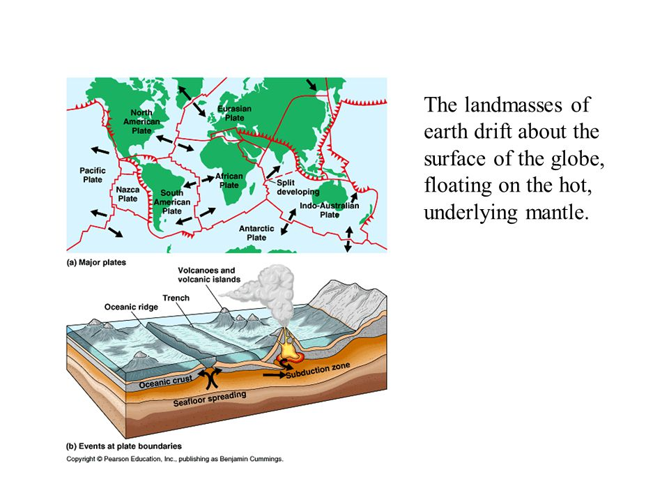 The landmasses of earth drift about the surface of the globe, floating on the hot, underlying mantle.