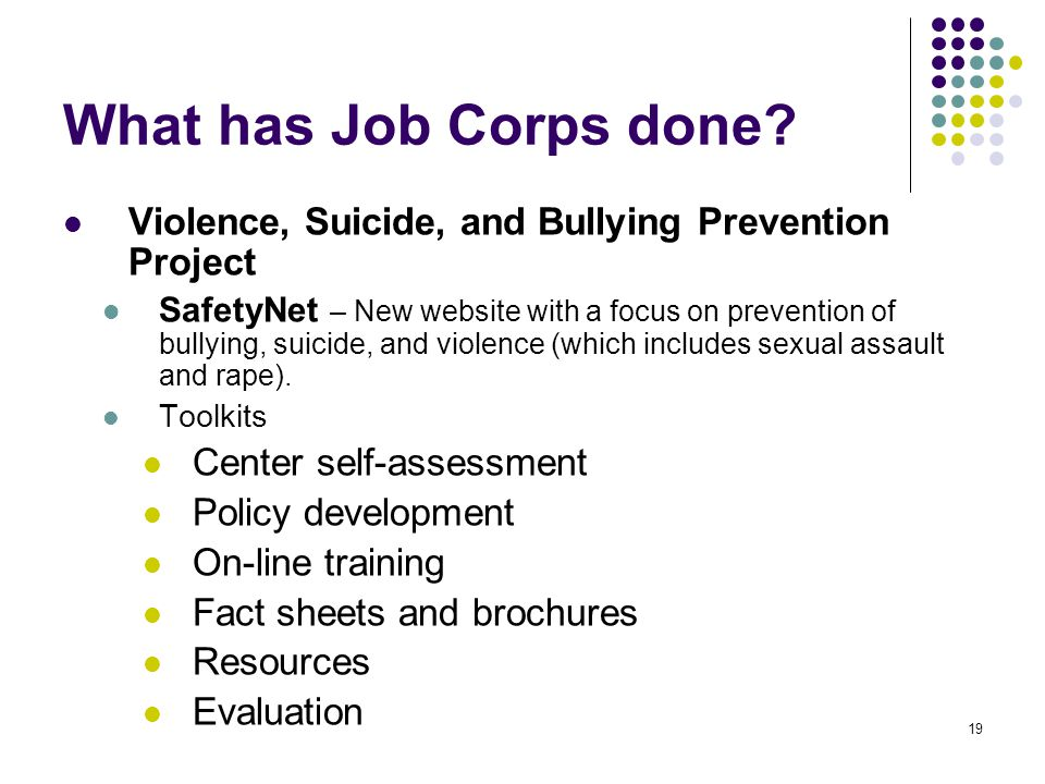 19 What has Job Corps done.